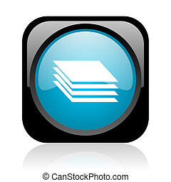 layers black and blue square web glossy icon