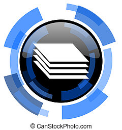 layers black blue glossy web icon