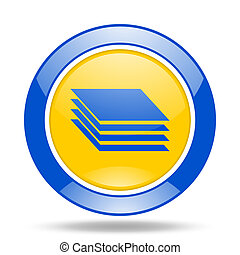 layers blue and yellow web glossy round icon