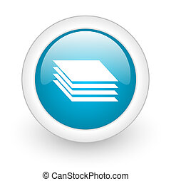 layers blue circle glossy web icon on white background