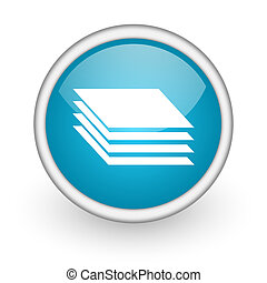 layers blue glossy icon on white background