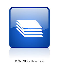layers blue square glossy web icon on white background