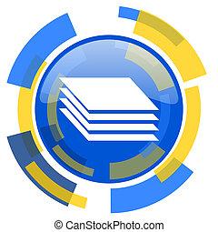 layers blue yellow glossy web icon