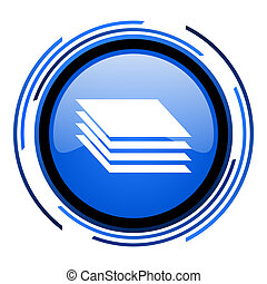 layers circle blue glossy icon