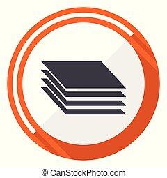 Layers flat design vector web icon. Round orange internet button isolated on white background.