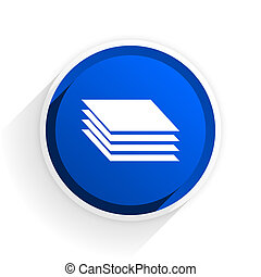 layers flat icon with shadow on white background, blue modern design web element