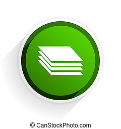 layers flat icon with shadow on white background, green modern design web element