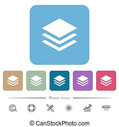 Layers flat icons on color rounded square backgrounds
