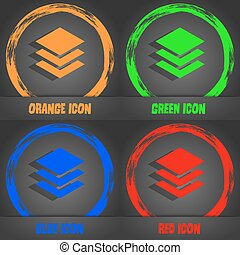 Layers icon sign. Fashionable modern style. In the orange, green, blue, red design. Vector
