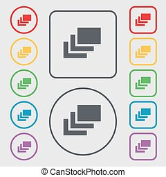 Layers icon sign. symbol on the Round and square buttons with frame. Vector