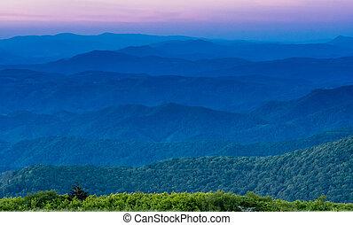 Layers of Blue Ridge Mountains at Sunset