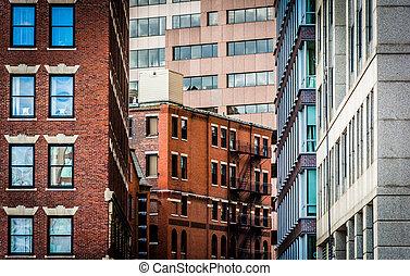 Layers of buildings in Boston, Massachusetts.