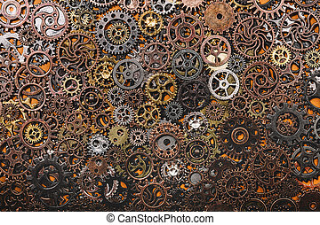 Layers of different cogwheels.