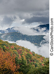 Layers of Fog and Mountains in Fall Vertical