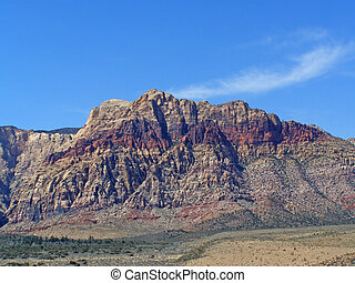 Layers of red in a mountain near Red Rock Canyon.