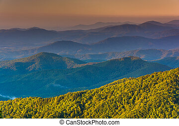 Layers of the Blue Ridge Mountains at sunrise, seen from the Blu