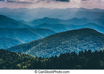 Layers of the Blue Ridge Mountains seen from Cowee Mountains...
