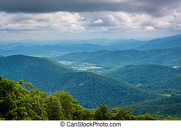 Layers of the Blue Ridge Mountains, seen from Skyline Drive in Shenandoah National Park, Virginia.