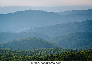 Layers of the Blue Ridge Mountains seen from Bearfence Mountain, in Shenandoah National Park, Virginia.