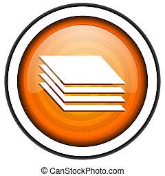 layers orange glossy icon isolated on white background