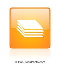 layers orange square glossy web icon
