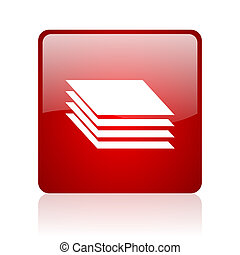 layers red square glossy web icon on white background