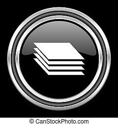 layers silver chrome metallic round web icon on black background