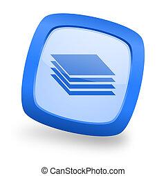 layers square glossy blue web design icon