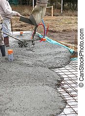 Laying a cement floor