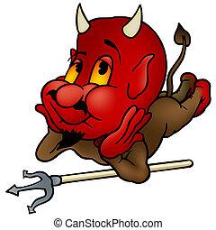 Laying Devil - Cartoon Illustration, Vector
