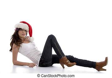 laying glamorous woman with christmas hat