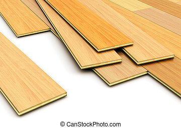 Laying of wooden laminated planks parquet floor