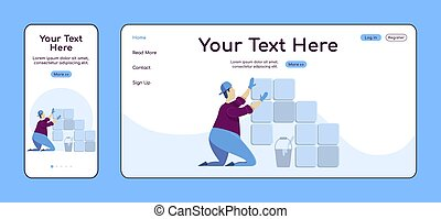 Laying tiles adaptive landing page flat color vector template. Professional tiler mobile and PC homepage layout. Repairman one page website UI. Home repairs webpage cross platform design