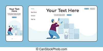 Laying tiles adaptive landing page flat color vector ...