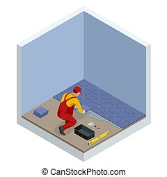 Laying tiles at home. Worker installing small ceramic tiles on bathroom floor and applying mortar with trowel. Isometric vector illustration.