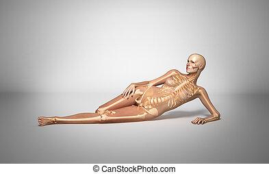 Laying woman with bone skeleton.
