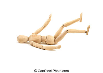 Laying wooden dummy isolated