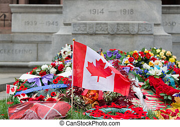 Laying wreaths - Toronto, Canada - November 11, 2012:...