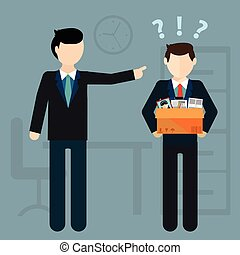 layoff concept boss dismissed employee flat vector illustration - Losing Job Getting Fired From Job