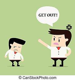 Layoff concept, cartoon boss dismissed employee, cartoon...
