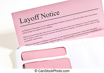 Layoff Notice - Horizontal shot of a pink layoff notice on a...