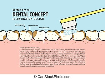 Layout Brushing very dirty teeth cartoon style for info or book illustration vector. Dental concept.