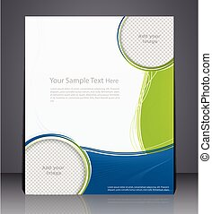 Layout business brochure, magazine cover, or corporate design template advertisment in green color with blue
