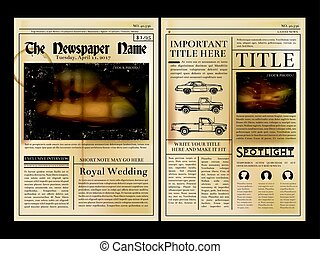 Layout design. Front page of vintage newspaper. Vector...