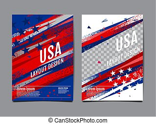 Layout Design USA flag , Template Banner, Vector abstract grunge, Background and texture.