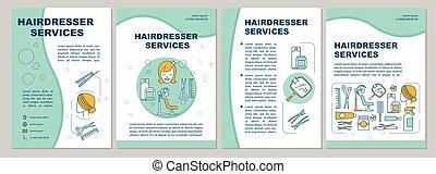 layout., diensten, reclame, blauw flyer, pagina, ...