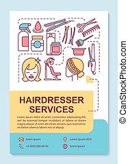 layout., diensten, reclame, gereedschap, poster, hairstylist...