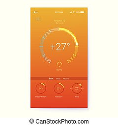 Layout for Summer weather mobile apps with temperature, humidity and wind sensor. UI of mobile app page of hot Summer weather. GUI design for responsive website or applications. 3D illustration.