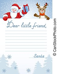 "Layout letter from Santa Claus with inscription ""Dear little friend"" and cartoon Santa with Christmas gift box and deer with bullfinch"