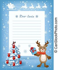 Layout letter to Santa Claus and cartoon funny deer with Christmas wish list for Santa, spruce tree with deer and sleigh with reindeer team flying in the sky